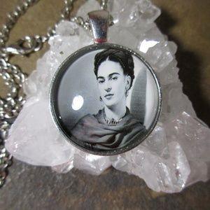 Jewelry - Black & white Frida Kahlo photo necklace pendant